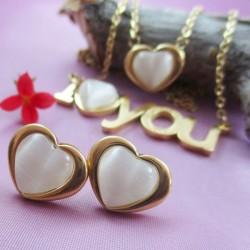 نیم ست استیل طرح I Love You و قلب مدل T137
