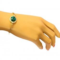 دستبند زنانه کریستالی نگین دار زنجیری با آبکاری رادیوم مدل B155