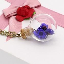 گردنبند حبابی گل خشک با گل های آبی رنگ مدل N163