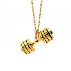 گردنبند دمبل طلایی استیل مدل N172