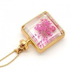 گردنبند شیشه ای گل خشک مربعی با گل خشک بنفش مدل N182