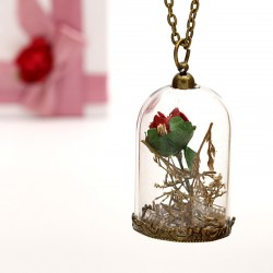 گردنبند شیشه ای گل خشک با گل رز سرخ مدل N185