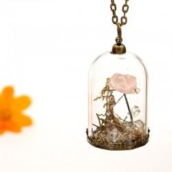 گردنبند شیشه ای گل خشک با گل رز صورتی مدل N186
