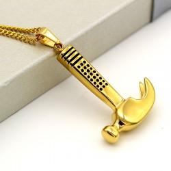گردنبند استیل طرح چکش طلایی رنگ مدل N200