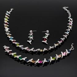 سرویس کامل گردنبند گوشواره و دستبند با کریستال های رنگی مدل K105