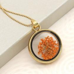 گردنبند شیشه ای گل خشک با گل های نارنجی مدل N219
