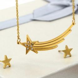 نیم ست استیل طرح ستاره دنباله دار طلایی رنگ مدل T165