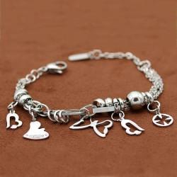 دستبند زنانه زنجیری با آویز پروانه و قلب جنس استیل مدل B159
