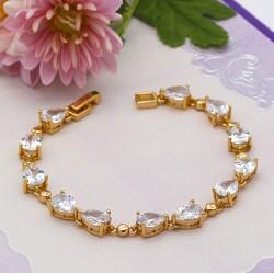 دستبند بندی زنانه استیل نگین دار با رنگ طلایی مدل B168