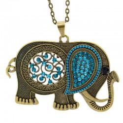 گردنبند رومانتویی طرح فیل با نگین های فیروزه ای مدل N245