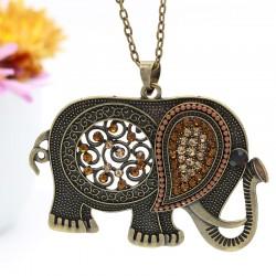 گردنبند رومانتویی طرح فیل با نگین های قهوه ای مدل N246
