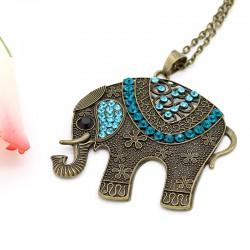 گردنبند رومانتویی طرح فیل با نگین های فیروزه ای مدل N250