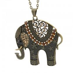 گردنبند رومانتویی طرح فیل با نگین های قهوه ای مدل N251