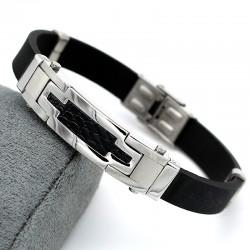 دستبند مردانه شیک با بند لاستیکی و بدنه استیل مدل B180