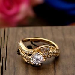 انگشتر زنانه نگین دار ظریف ژوپینگ با رنگ طلایی مدل R122