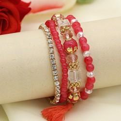 دستبند زنانه چند رج با سنگ های قرمز مدل B194