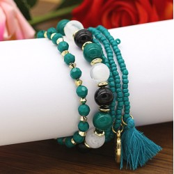 دستبند زنانه چند رج با سنگ های رنگی فیروزه ای مدل B195