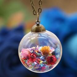 گردنبند حبابی با گل و پولک های ستاره ای رنگارنگ مدل N270