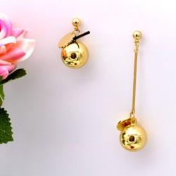 گوشواره آویز کوتاه و بلند استیل رنگ طلایی مدل E156