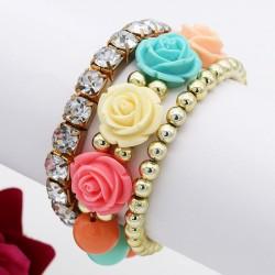 دستبند زنانه چند رج با گل های رنگی و نگین دار مدل B199