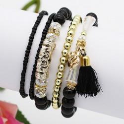 دستبند زنانه چند رج با سنگ های مشکی و طلایی مدل B200