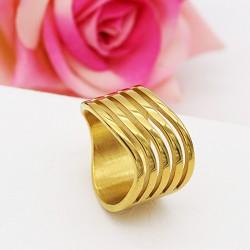 انگشتر زنانه استیل رنگ طلایی مدل R124