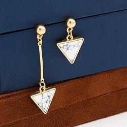 گوشواره آویز کوتاه و بلند استیل با آویز های مثلثی شکل مدل E161