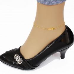 پابند زنانه استیل طرح صلیب رنگ طلایی مدل P116