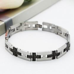 دستبند مردانه استیل شیک رنگ نقره ای مشکی مدل B204