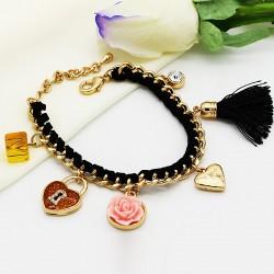 دستبند فانتزی زنانه با آویزهای قلب و قفل و گل رنگ مشکی مدل B205