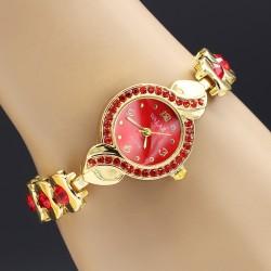 ساعت مچی زنانه کریستالی با رنگ قرمز مدل F122