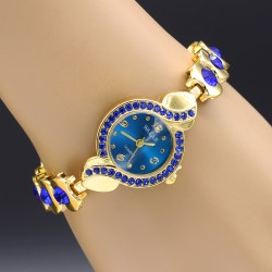 ساعت مچی زنانه کریستالی با رنگ آبی مدل F123