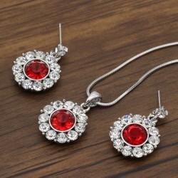 نیم ست زنانه استیل نگین دار و کریستالی با رنگ نقره ای قرمز مدل T196