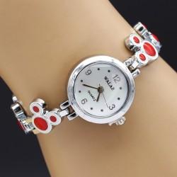 ساعت مچی دخترانه فانتزی جنس استیل و رنگ نقره ای و قرمز مدل F161