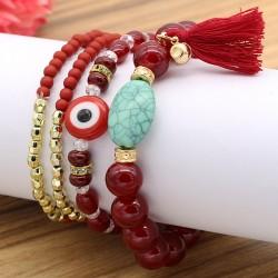 دستبند زنانه چند تایی با سنگ های رنگی زیبا و چشم نظر مدل B211