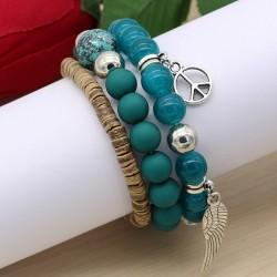 دستبند زنانه چند تکه با سنگ های فیروزه ای رنگ مدل B213