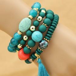 دستبند زنانه چند تکه با سنگ های فیروزه ای رنگ مدل B227