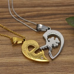 گردنبند دو تکه طرح قلب و کلید با دو رنگ نقره ای و طلایی مدل N299