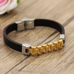 دستبند مردانه با بند لاستیکی و بدنه استیل طلایی رنگ مدل B218