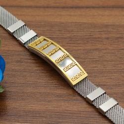 دستبند مردانه استیل با بند توری و رنگ طلایی نقره ای مدل B219