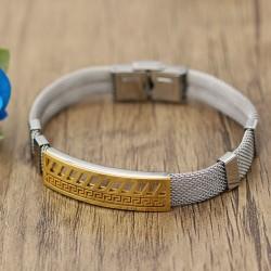 دستبند مردانه استیل با بند توری و رنگ طلایی نقره ای مدل B221
