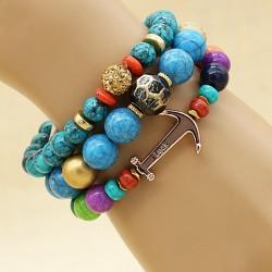 دستبند دخترانه چند تایی با سنگ های رنگارنگ مدل B233