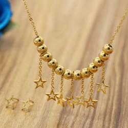 نیم ست زنانه استیل با آویز های ستاره و رنگ طلایی مدل T201