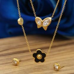 نیم ست زنانه طرح پروانه و گل جنس استیل و رنگ طلایی مدل T205
