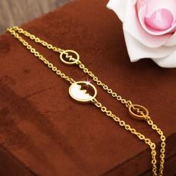 دستبند زنانه استیل دو زنجیره ضربان قلب با رنگ طلایی مدل B235