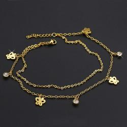 پابند زنانه دو زنجیره نگین دار طرح پروانه رنگ طلایی مدل P129