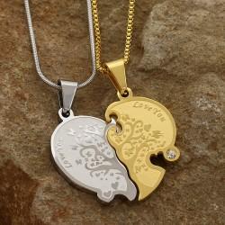 گردنبند دو تکه دوستی طرح قلب و Love You جنس استیل رنگ طلایی و نقره ای مدل N343
