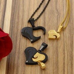 گردنبند دوستی ست دو تکه طرح قلب و I Love You جنس استیل رنگ طلایی و مشکی مدل N345