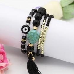 دستبند دخترانه چند رج با سنگ های مشکی مدل B252