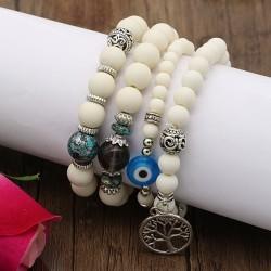 دستبند زنانه چند تکه با سنگ های سفید و چشم نظر و آویز نقره ای درخت مدل B253